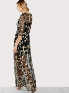 BLACK FLORAL EMBROIDERY MESH OVERLAY | Maxi Dress