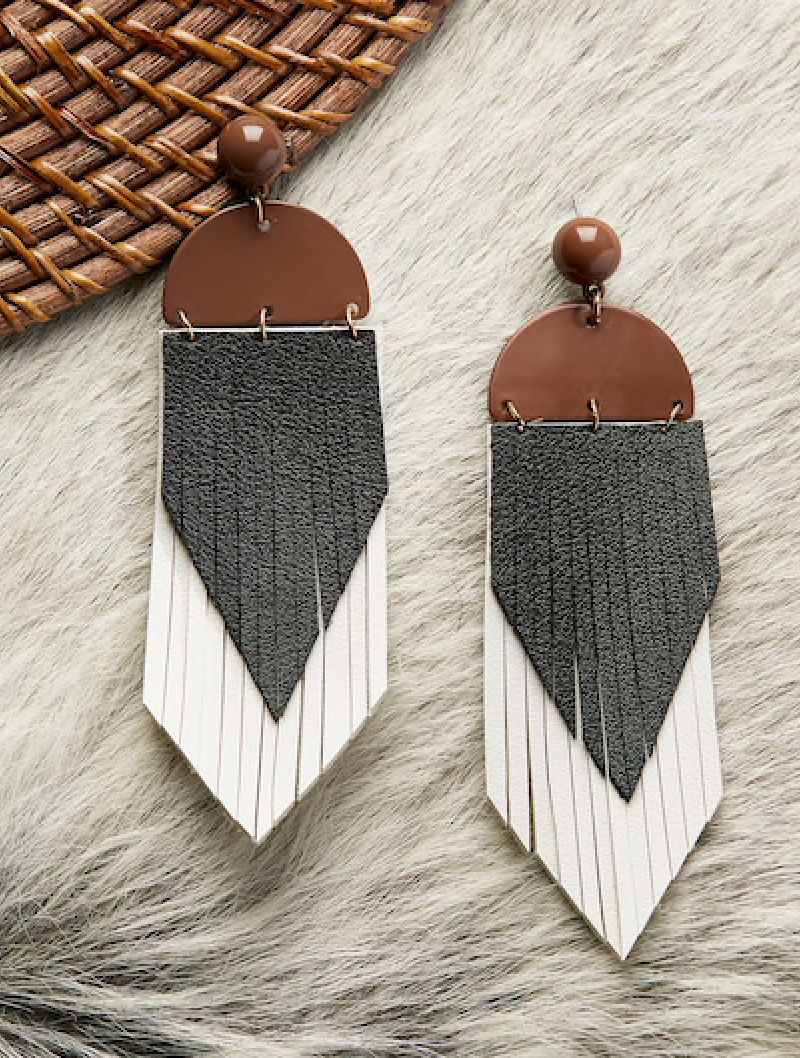 THREE TONED FEATHER | earrings
