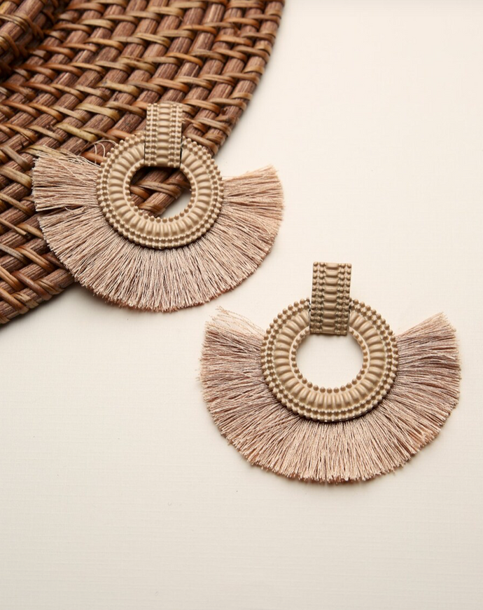 Textured Wood Look Earrings With Fringe Detail