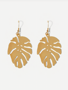 Tropical Leaf Shaped Metal Drop Earrings
