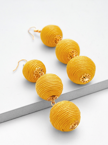 Pom Pom Design Drop Earrings