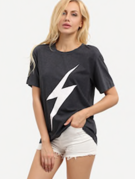 WHITE LIGHTENING BOLT | short sleeve tee