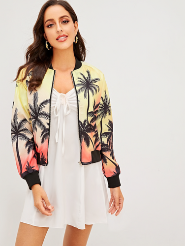 TROPICAL PALMS SUNSET | bomber jacket