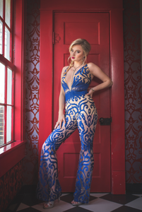 ROYAL BLUE | flare leg jumpsuit