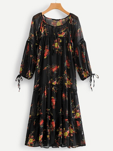 FLORAL  PRINT BOHO DRESS COVERUP | sheer, knotted cuff