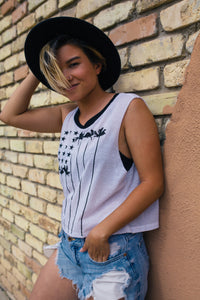 STARS AND PALMS TANK | black and white flag tank