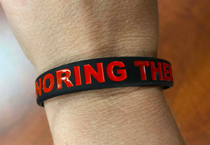 "Black Silicon Bracelet 1/2"" Wide Debossed with Honoring their Sacrifice ALL Caps in Red"