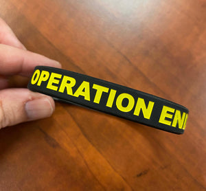 "Black Silicon Bracelet 1/2"" Wide Debossed with OEW ALL Caps in Yellow"
