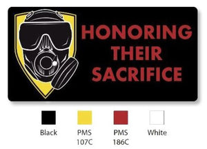 "OEW Honoring Their Sacrifice Black / Red 3D PVC Patch w Velcro back 4"" W x 2"" H Rectangular"