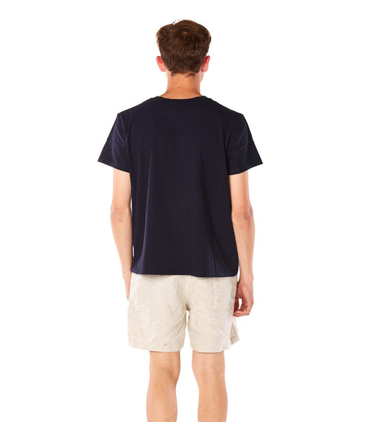 Cotton T-shirt Navy - Back