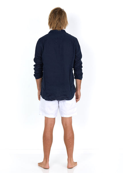 Linen Shirt Navy - Back