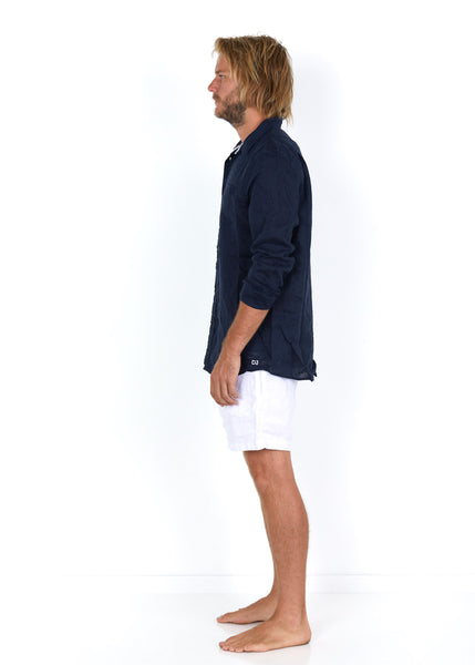 Linen Shirt Navy - Side