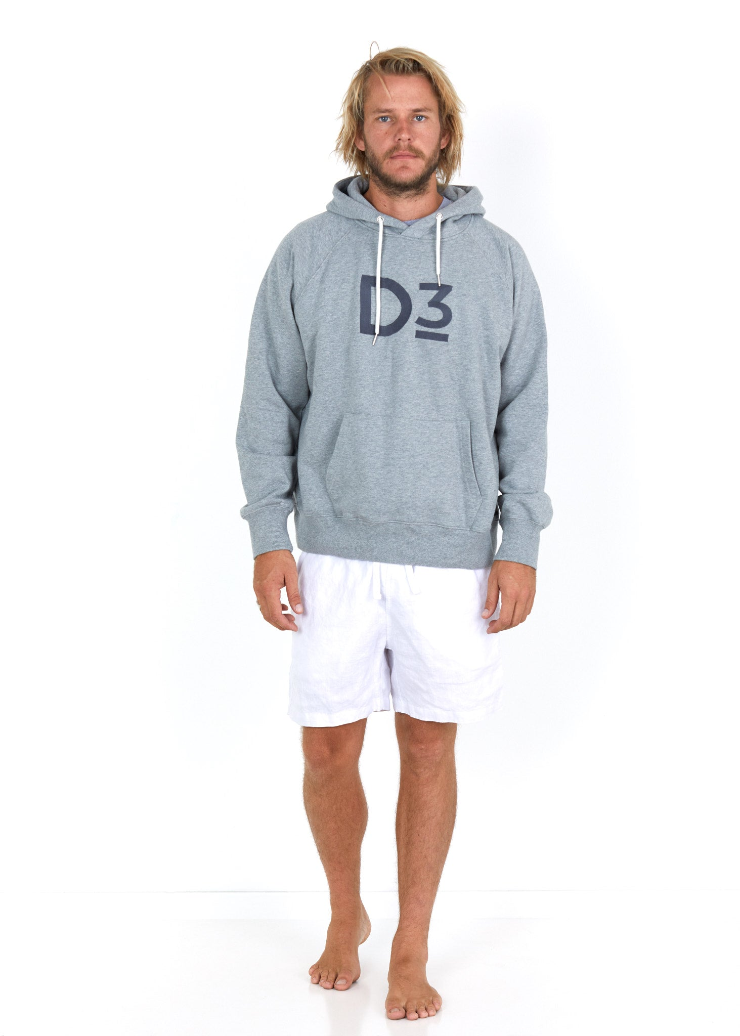 Cotton Hoodie Grey - Front