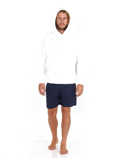 Cotton Hoodie White - Hood Up