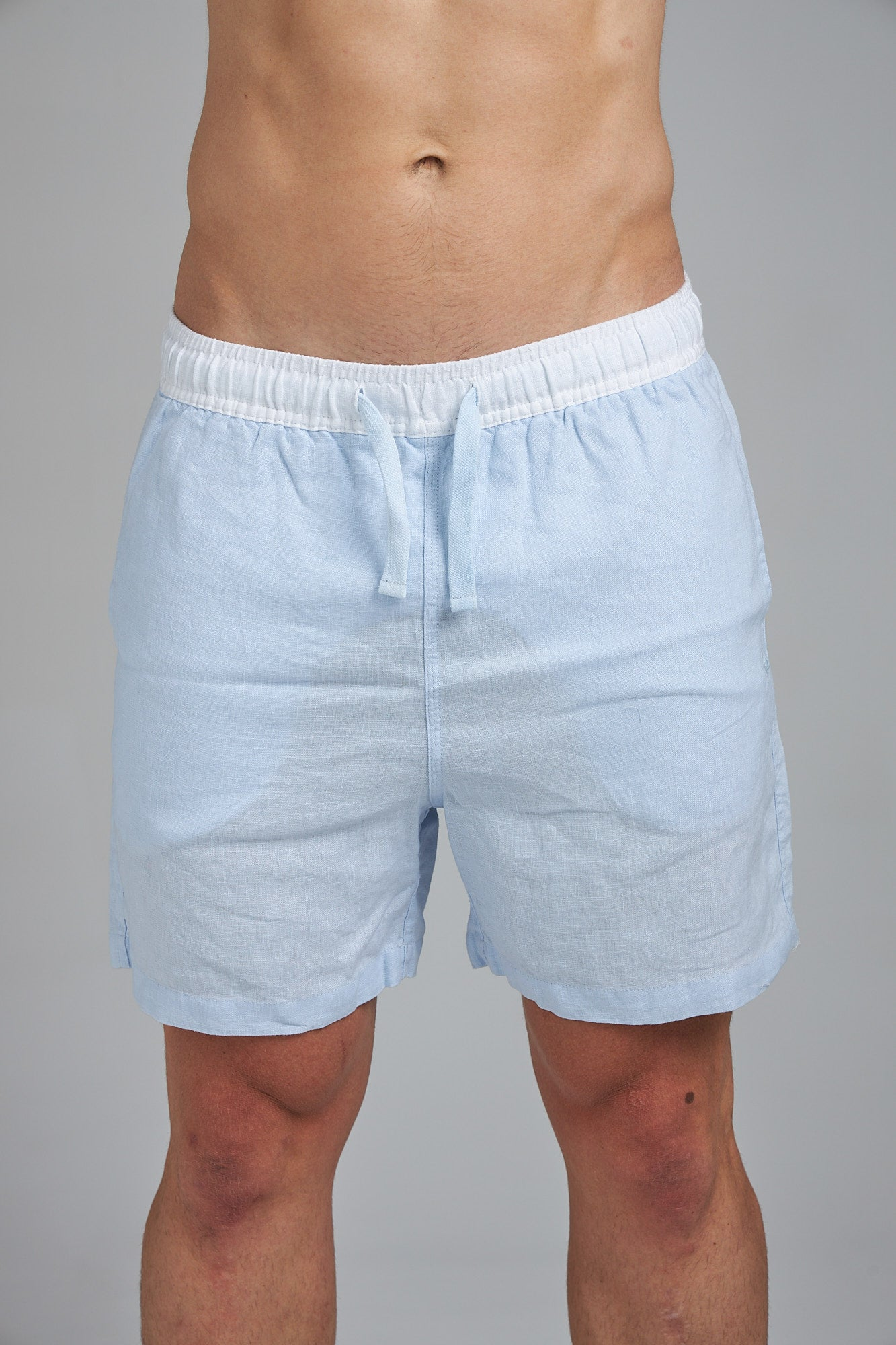 LINEN SHORT - PALE BLUE