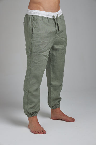 LINEN JOGGERS - OLIVE