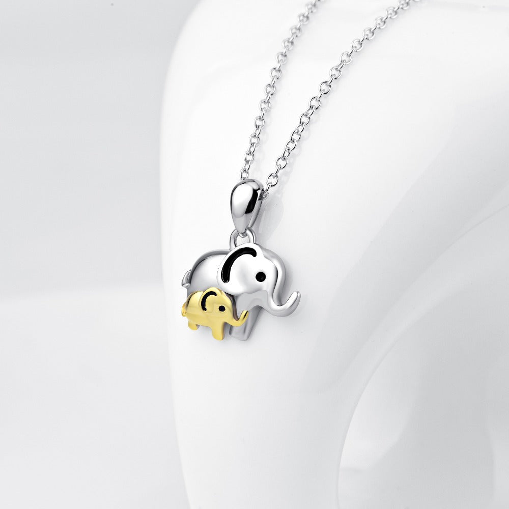 Lucky sterling silver elephant mom and baby necklace lucky sterling silver elephant mom and baby necklace mozeypictures Image collections