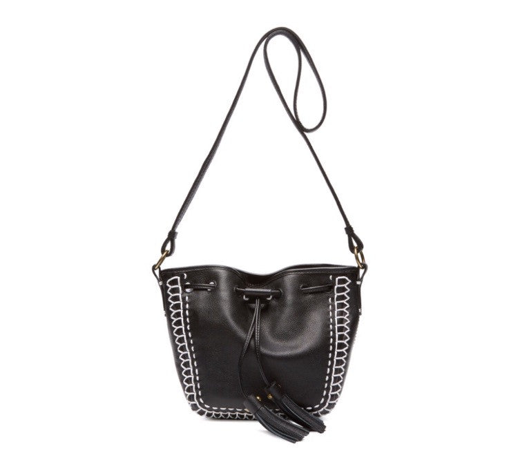 Isabella Fiore Black Leather Bucket Bag