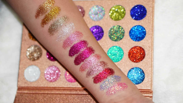 ROSE GOLD PRESSED GLITZY GLITTER PALETTE - QueensLyfe Cosmetics