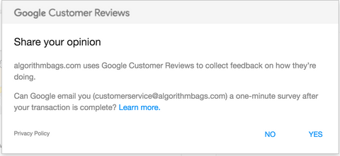 Google Customer Reviews algorithmbags.com