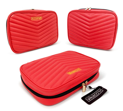 AlgorithmBags travel jewelry organizer quilted vegan leather red double zipper premium quality BEST GIFT