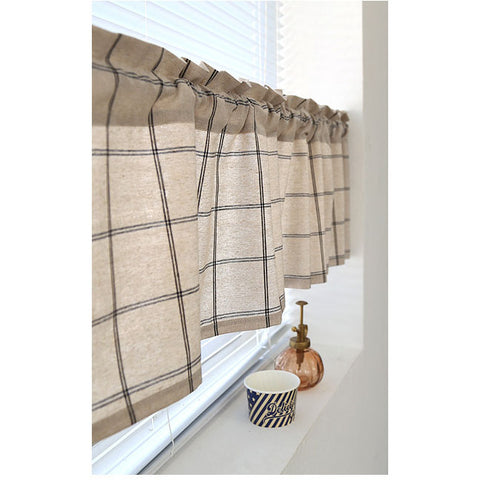 Plaid Valance Curtain For Windows Kitchen Cupboard Treatments,Home Decor