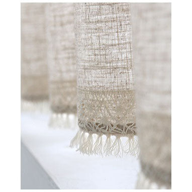 Cotton Linen Window Valance Cafe Curtain With Lace Tab Top And Tassel