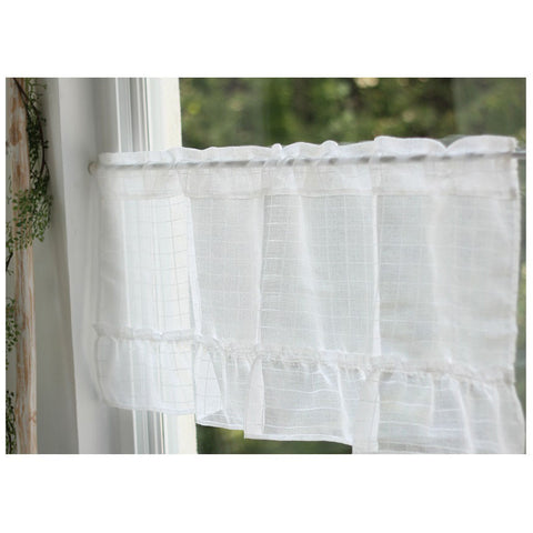 White Sheer Valance, Check Cafe Curtain,Short Kitchen Curtain,Linen Like Sheer