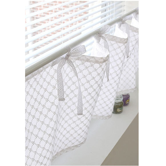 Tie Top Cafe Curtain,White Embroidered Valance, Short Kitchen Curtain In Modern Style