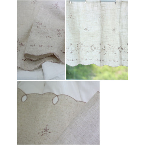 "Antique Embroidered Cafe Curtain Rustic Linen Window Valance 62""W X 22""L"
