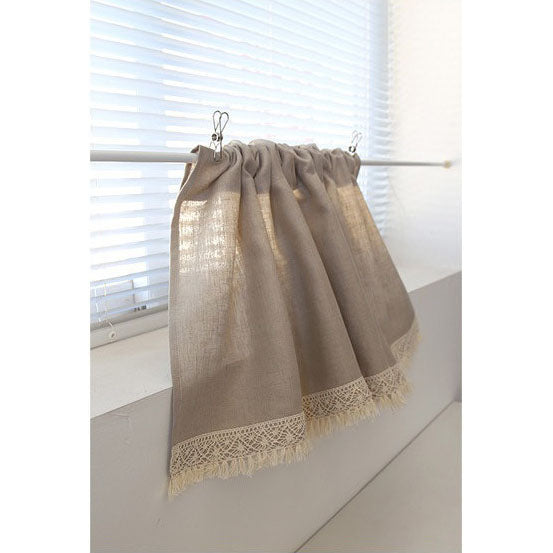 Kitchen Cafe Curtain Rustic Linen Valance With Tassel and Lace Trim