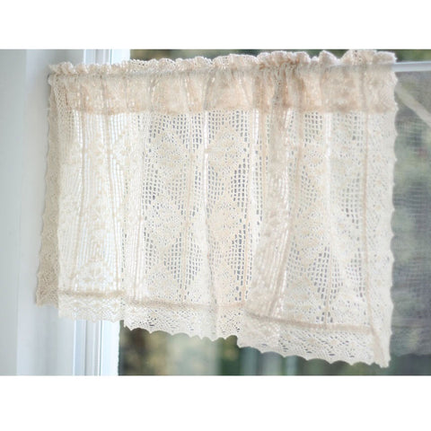 Farm House Hand Crochet Window Valance Kitchen Cafe Curtain
