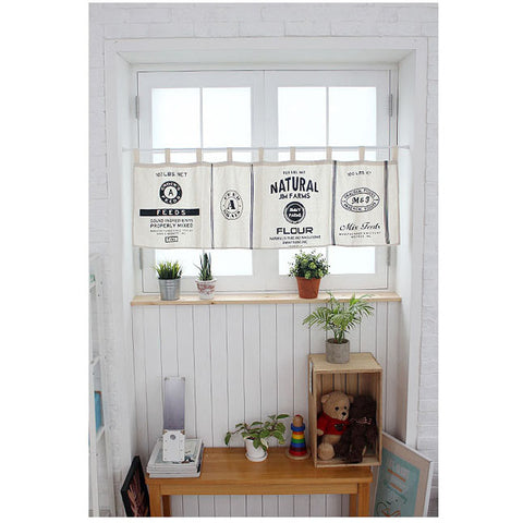 Natural Linen Cafe Curtain Half Curtain Tab Top Valance