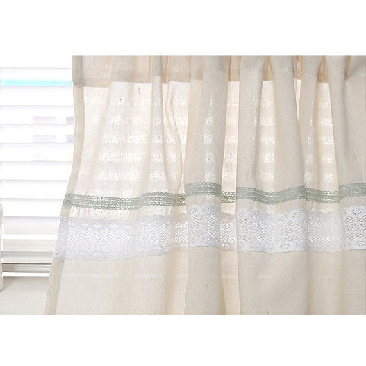 "Natural Cotton Blend Cafe Curtain Linen Textured With Lace Trim One Panel 52""W"