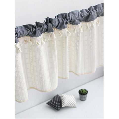 Kitchen Cafe Curtain Tassel Embroidered Valance