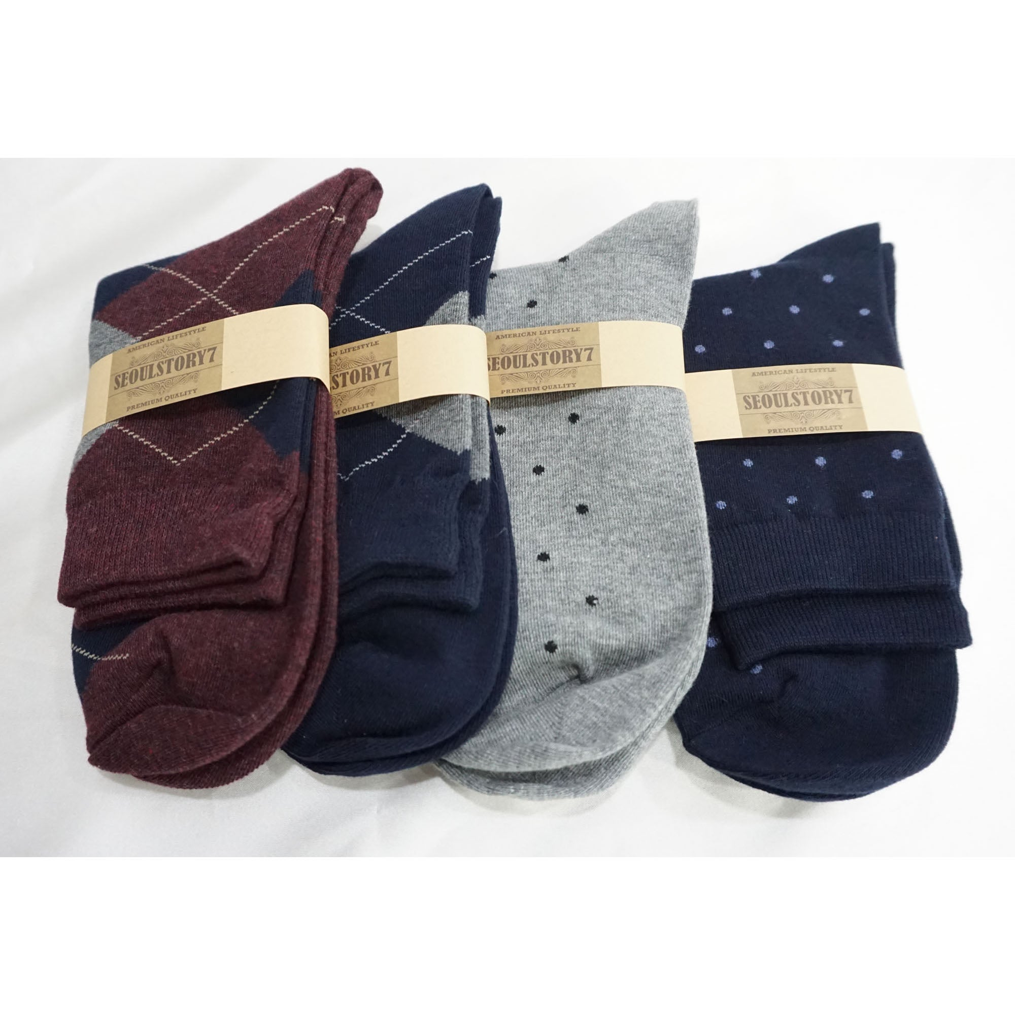 4Pack Men's Casual Cotton Patterned Socks Dot and Argyle