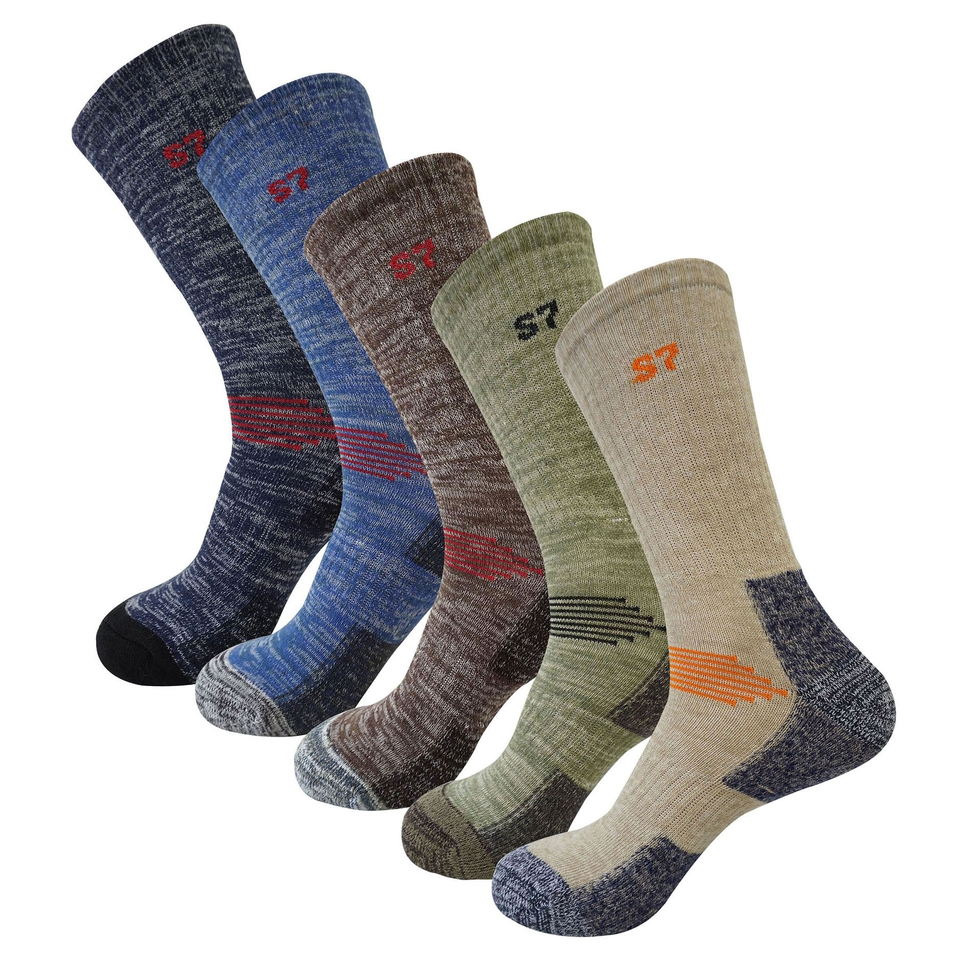 5Pack Men's Multi Performance Cushion Hiking/Outdoor Crew Socks Year Round