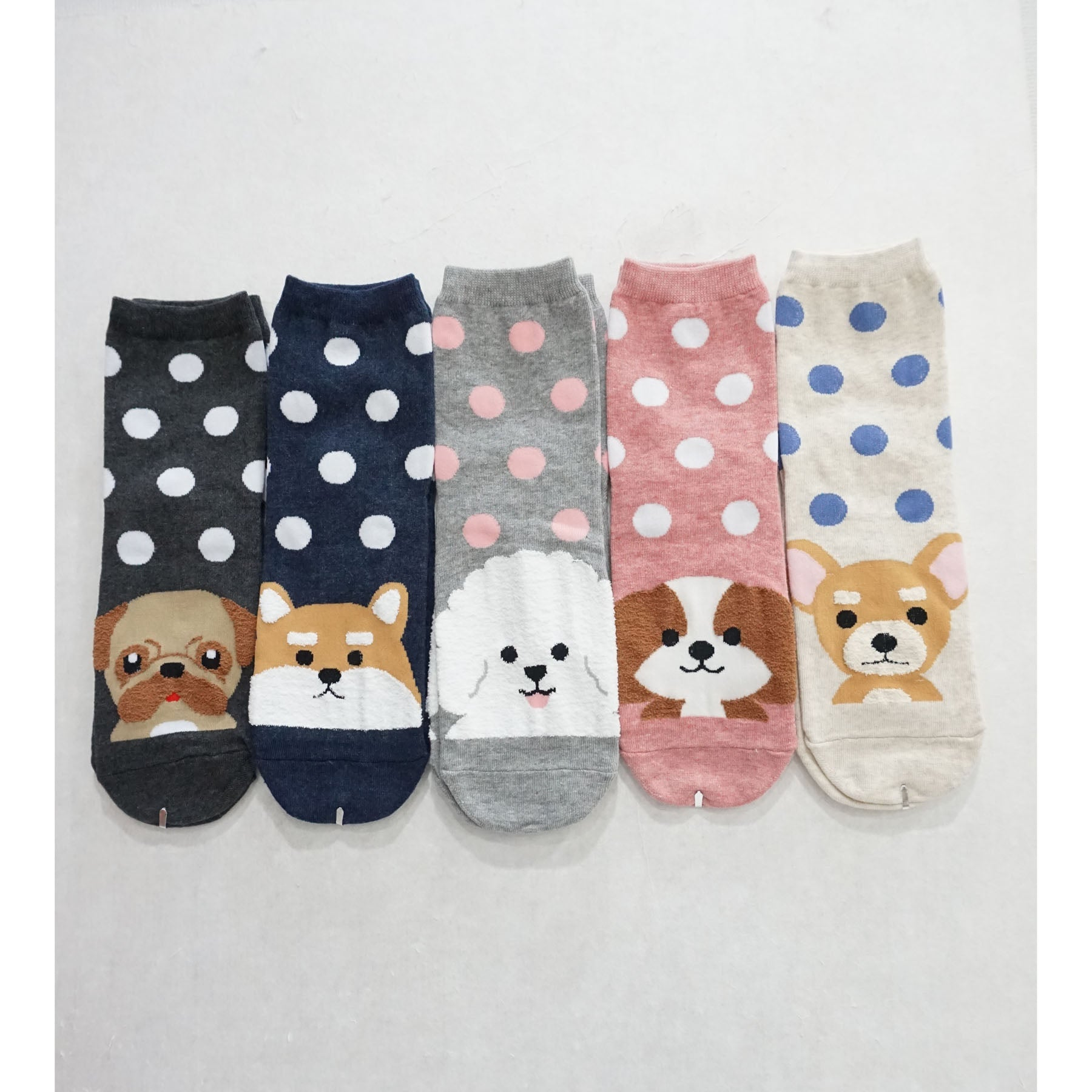 5Pairs Women's Cotton Cute Animal Dog Print Crew Socks