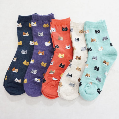5Pairs Women's Cotton Cat Friend Prints Micro Crew Socks