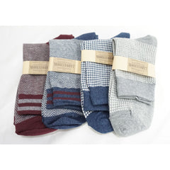 4Pack Men's Casual Cotton Patterned Socks Harringbone