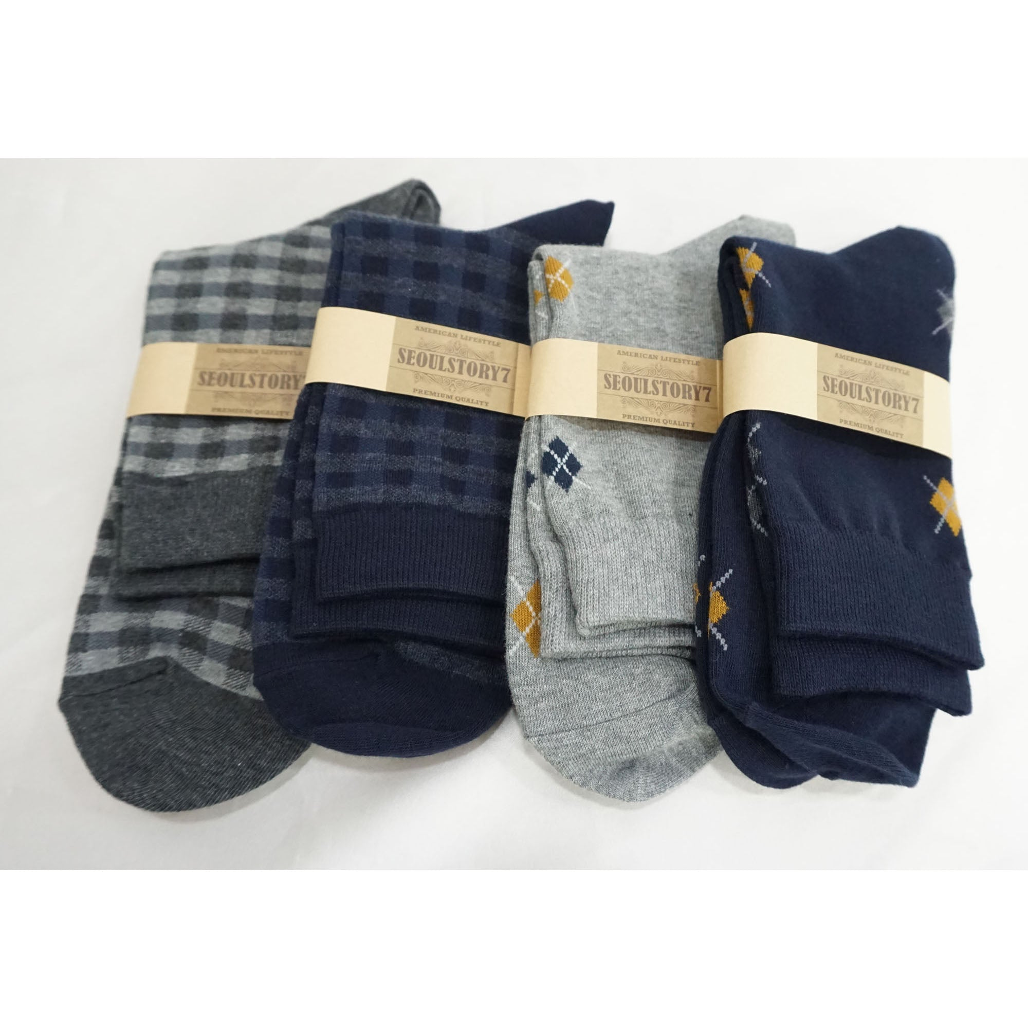 4Pack Men's Casual Cotton Patterned Socks Check and Small Argyle