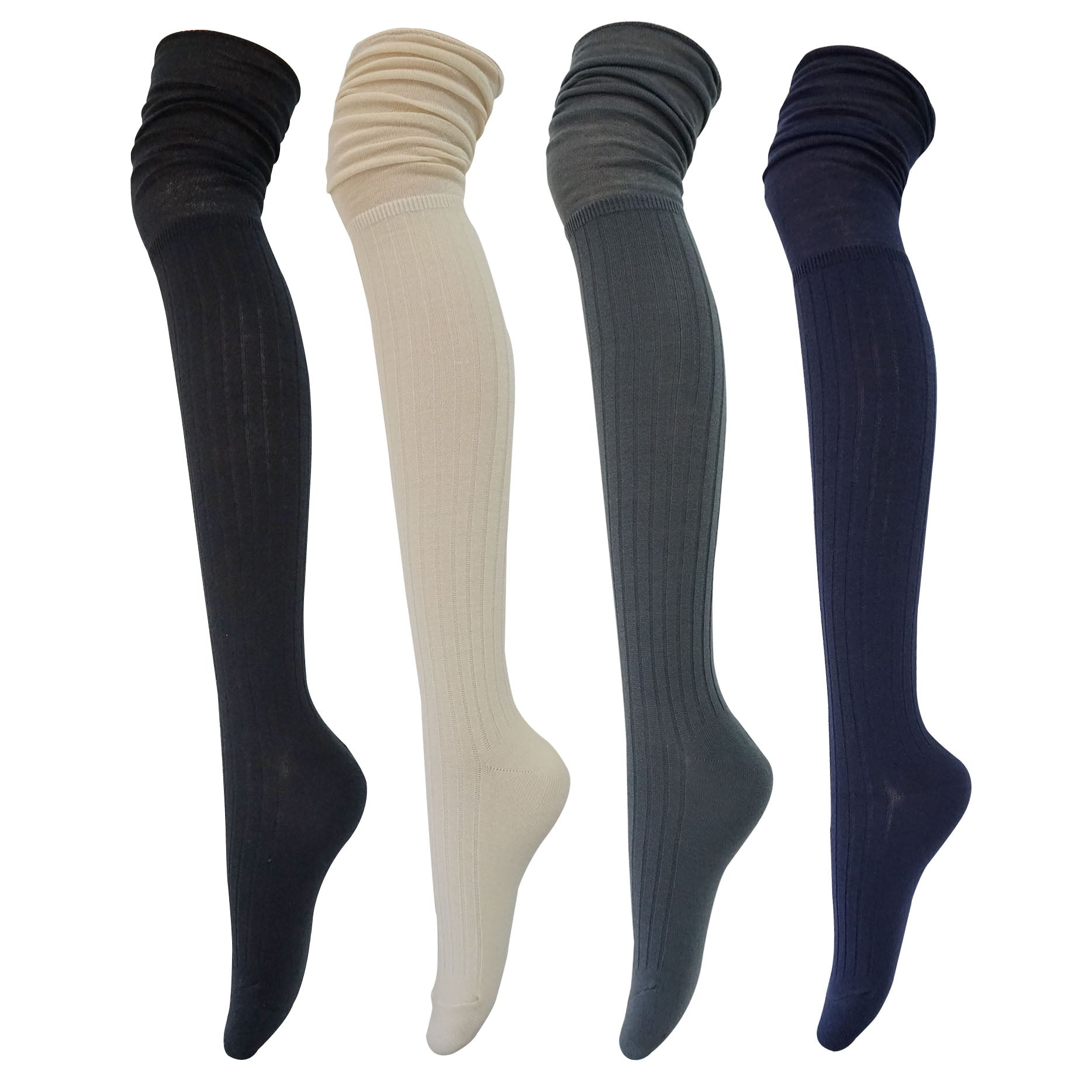 4Pack Women's Slouch Top Over The Knee Socks