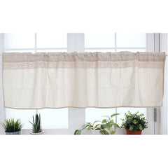 Kitchen Cafe Curtain Natural Linen Window Valance With Lace Trim