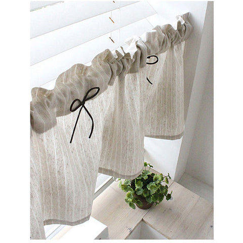 "Farmhouse Valance Cafe Curtain Stripe Beige Linen Valance 53""W Detachable Ribbon"