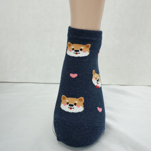 4Pairs Women's Cotton Cute Heart and Puppy Print Low Socks