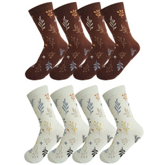 8 Pack Ladies Cotton Nature Patterned Quarter Crew Socks