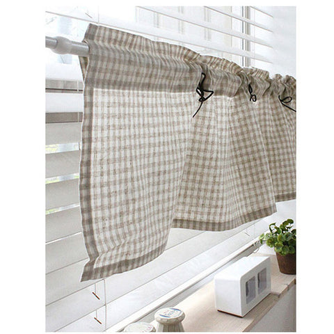 "Cafe Curtain Check Linen Valance Window Valance 53""W Detachable Ribbon"