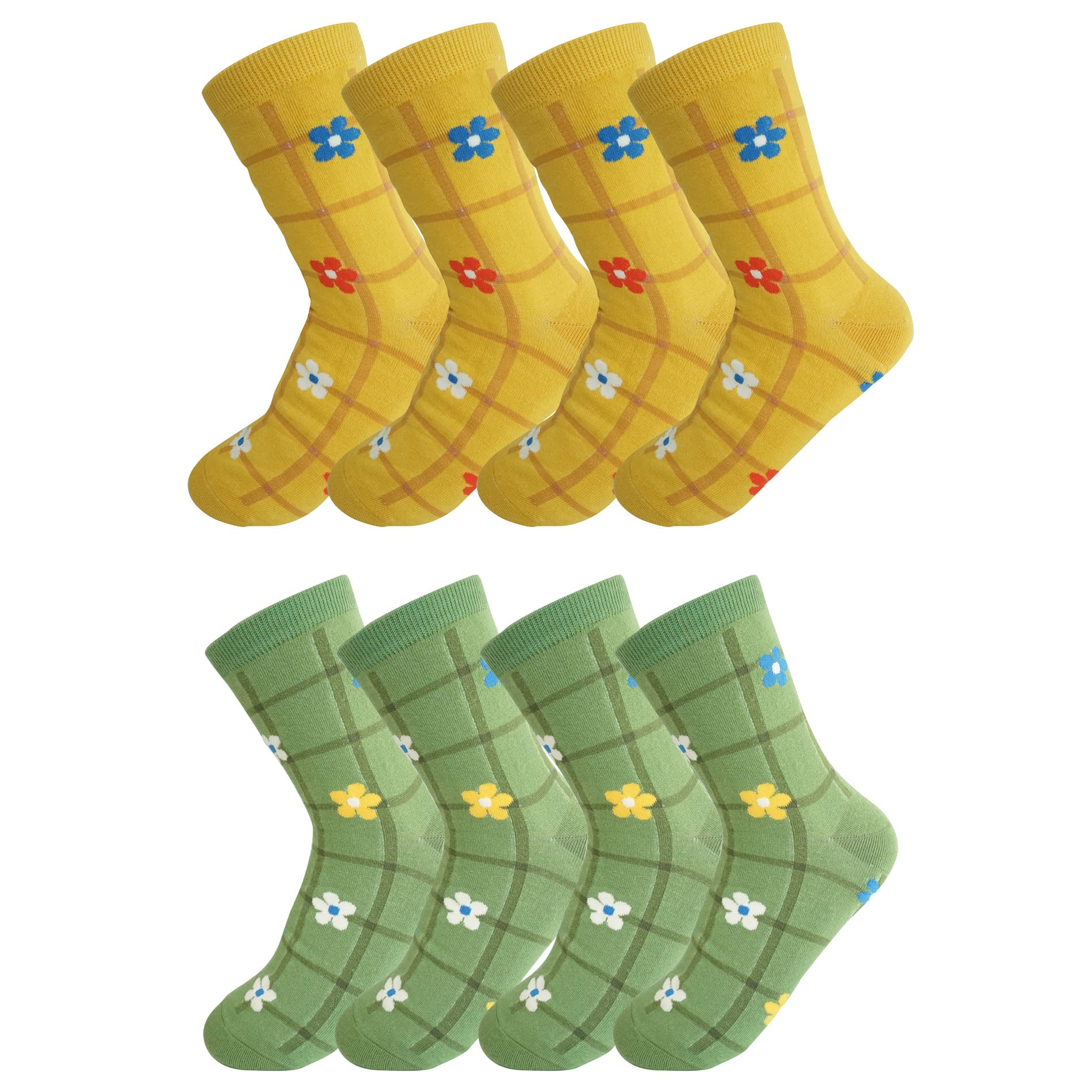 8 Pack Ladies Colorful Cotton Crew Socks Plaid and Flower