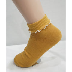 6Pairs Women's Cotton Ruffle Frilly Solid Anklet Socks