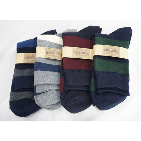 4Pack Men's Casual Cotton Patterned Socks Bold Stripe